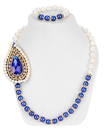 Daizy Ethnic Necklace & Bracelet Set - Blue & White