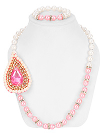 Daizy Ethnic Necklace & Bracelet Set - White & Pink