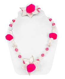 Daizy Gota Pearl Necklace & Bracelet Set - Blue