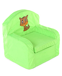 Lovely Kids Sofa Chair Cat Embroidered - Green