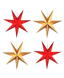 Party Propz Christmas Hanging Stars Red Golden - Pack Of 4