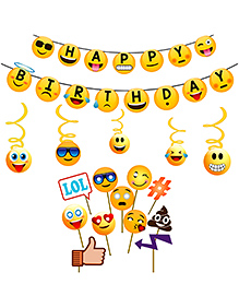 Party Propz Emoji Birthday Banner And Photo Booth Props - 17 Pieces