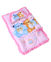 3 Piece Baby Bedding Set Teddy Bear Print - Pink