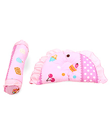 Pillow And Bolster Set Ice Cream Print - Pink