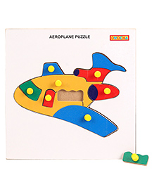 Playmate Wooden Aeroplane Puzzle With Pegs - Multicolour