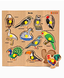 Playmate Wooden Birds Puzzle With Pegs - Multicolour