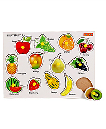 Playmate Wooden Fruits Puzzle With Pegs - Multicolour