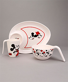 Servewell Feeding Set Mickey Mouse Print Pack Of 3 - White Red