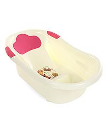 Baby Bath Tub Baby Teddy Print - Cream & Pink