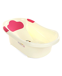 Baby Bath Tub Baby Dog Print - Cream & Pink