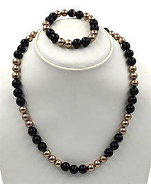 Magic Needles Beads Design Necklace & Bracelet Set - Black