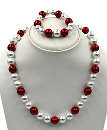 Magic Needles Pearl Necklace & Bracelet Set - Maroon