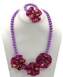 Magic Needles Pearls & Flower Design Necklace & Bracelet Set - Purple
