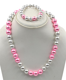 Magic Needles Pearl Bracelet & Necklace Set - Pink