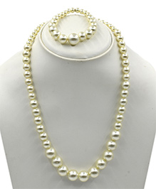 Magic Needles Pearl Work Necklace & Bracelet Set - Cream