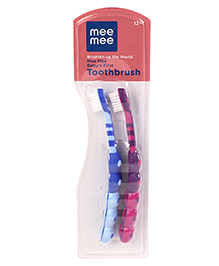 Mee Mee Baby's First Toothbrush Blue Pink - Pack Of 2