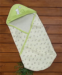 Zero Hooded Wrapper Bear Print - Green