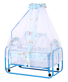 Baby Cradle With Mosquito Net Dots Print - Light Blue