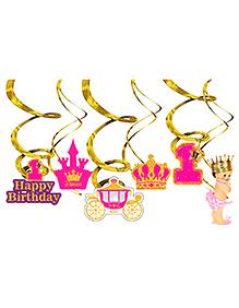 Party Propz Princess 1st Birthday Swirl Decoration - 6 Pieces