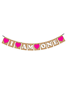 Party Propz I Am One Birthday Banner - Pink