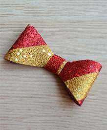 Pretty Ponytails Striped Glitter Finish Bow Design Hair Clip - Red