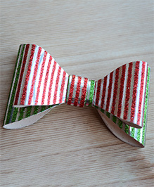 Pretty Ponytails Striped Design Glitter Finish Bow Hair Clip - Red & Green