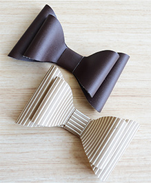 Pretty Ponytails Set Of 2 Striped & Solid Hair Clips - Beige