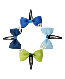 Keira'S Pearl Embellished Bow Clips Pack Of 4 - Navy Blue,Sky Blue,Green,Royal Blue