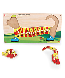 Kinder Creative Wooden Capital Alphabet Dog Lift Out Knob Puzzle - Red & Yellow