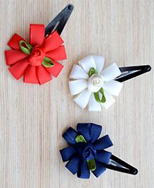 Pretty Ponytails Set Of 3 Flower Design Hair Clips - White , Red , Blue