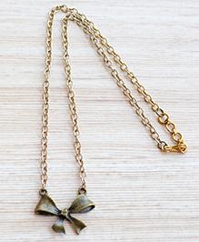 Pretty Ponytails Bow Pendant Necklace - Golden