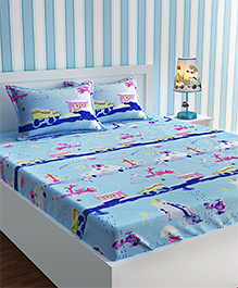 Urban Dream Bed Sheet With Pillow Cover Set Multi Print - Blue