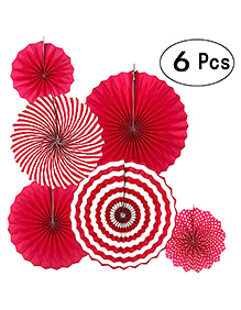 Party Propz Hanging Paper Fans For Decorations Red - Pack Of 6