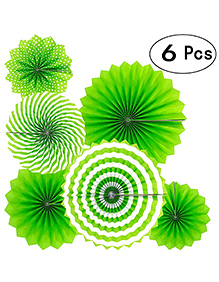 Party Propz Hanging Paper Fans For Decorations Green - Pack Of 6