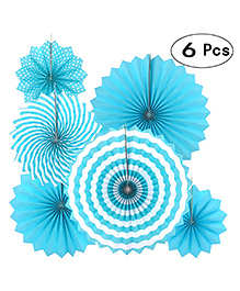 Party Propz Hanging Paper Fans For Decorations Sky Blue - Pack Of 6