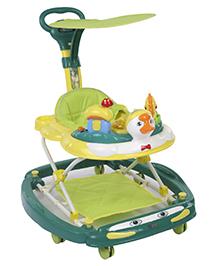 Musical Baby Walker Cum Rocker With Push Handle Duck Design - Yellow Green