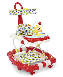 Musical Baby Walker Cum Rocker With Canopy - Red & Cream
