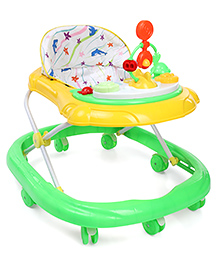Musical Baby Walker With Play Tray - Green Yellow