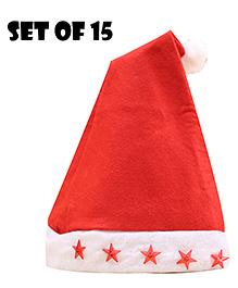 Party Propz  Santa Cap Set Of 15 - Red