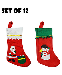 Party Propz Christmas Stockings Decoration Set Of 12 - Red