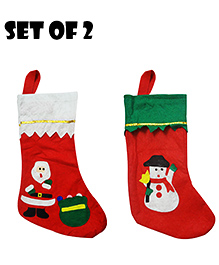 Party Propz Christmas Stockings Decoration Set Of 2 - Red