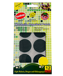 Runbugz Anti Mosquito Patches Plain Green - 12 Patches - Safe For Babies
