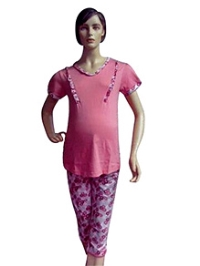 Mama & Bebe Maternity Top And Pant With Floral Print - Pink