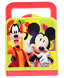 Mickey Mouse And Friends Lunch Box With Mickey Mouse Print And Carry Handle - Red And Green