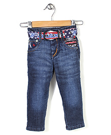 Tippy Full Length Jeans With Belt - Blue - 0 To 12 Months