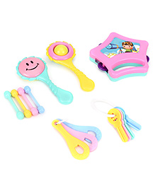 Ratnas Little Doll Rattle Set Of 6 - Pink And Yellow