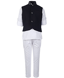 Little Bull Full Sleeves Kurta And Pajama With Jacket - Black And White