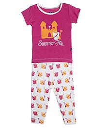 Kickee Pants Short Sleeve Top And Pajama Set Shovel And Pail Print - Pink