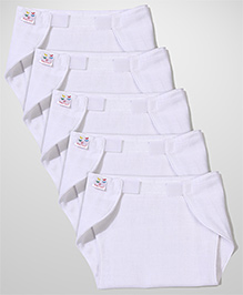 Tinycare Velcro Closure Plain White Nappy Set Large - Set Of 5