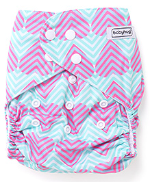 Babyhug Free Size Reusable Cloth Diaper With Insert Heart Print - Green